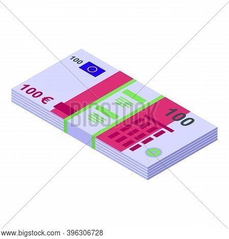 Auction Money Pack Icon. Isometric Of Auction Money Pack Vector Icon For Web Design Isolated On Whit