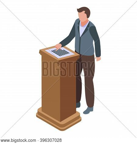 Speaker Auction Icon. Isometric Of Speaker Auction Vector Icon For Web Design Isolated On White Back