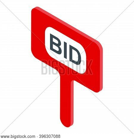 Auction Bid Board Icon. Isometric Of Auction Bid Board Vector Icon For Web Design Isolated On White