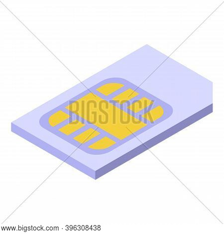 Sim Card Mobile Payment Icon. Isometric Of Sim Card Mobile Payment Vector Icon For Web Design Isolat