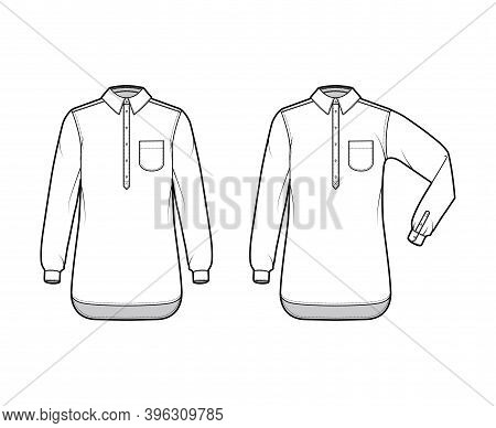 Set Of Shirt Pullover Technical Fashion Illustration With Rounded Pocket, Elbow Fold Long Sleeve, Ov
