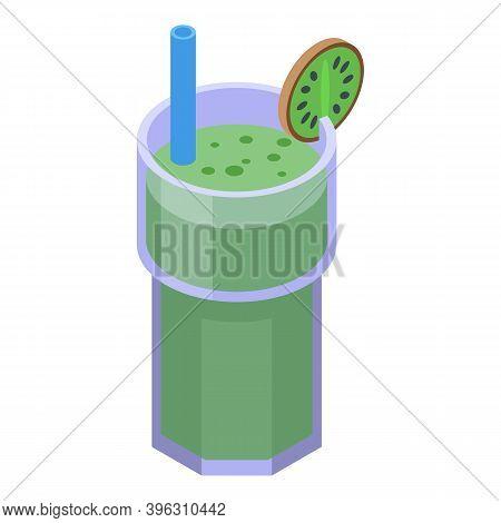Healthy Breakfast Kiwi Smoothie Icon. Isometric Of Healthy Breakfast Kiwi Smoothie Vector Icon For W
