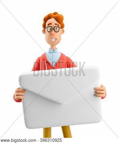 Nerd Larry Holding A Mailing Envelope. 3d Illustration.