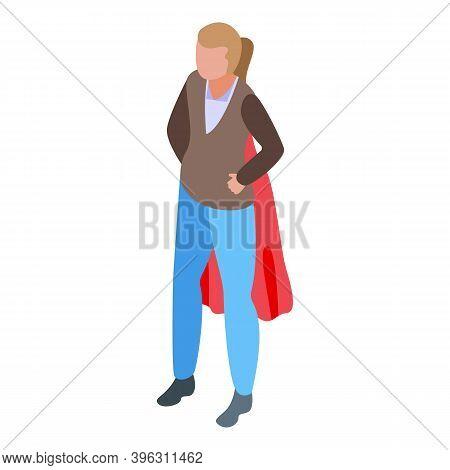 Successful Business Woman Hero Icon. Isometric Of Successful Business Woman Hero Vector Icon For Web
