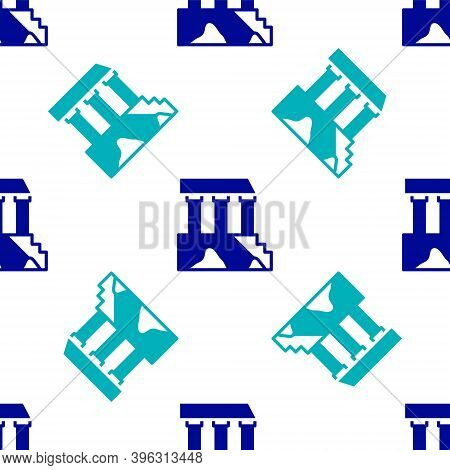 Blue Parthenon From Athens, Acropolis, Greece Icon Isolated Seamless Pattern On White Background. Gr