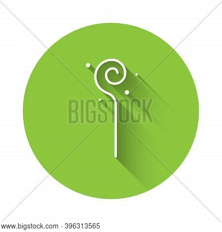 White Magic Staff Icon Isolated With Long Shadow. Magic Wand, Scepter, Stick, Rod. Green Circle Butt