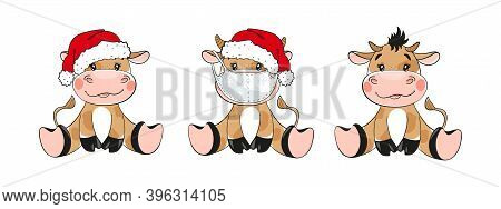 Symbol 2021, Bull In Santa Hat And Medical Mask, Set Of Cartoon Characters. Chinese New Year Of The