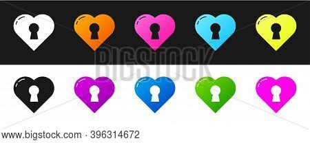 Set Heart With Keyhole Icon Isolated On Black And White Background. Locked Heart. Love Symbol And Ke