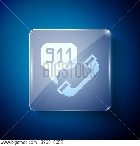 White Telephone With Emergency Call 911 Icon Isolated On Blue Background. Police, Ambulance, Fire De