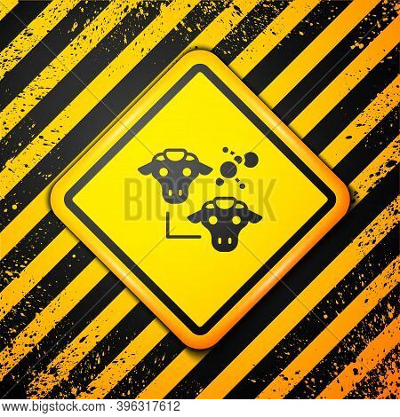 Black Cloning Icon Isolated On Yellow Background. Genetic Engineering Concept. Warning Sign. Vector