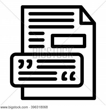 Reportage Paper Icon. Outline Reportage Paper Vector Icon For Web Design Isolated On White Backgroun