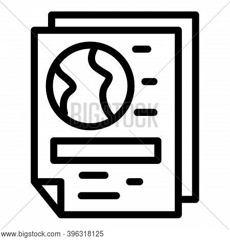 Global Newspaper Reportage Icon. Outline Global Newspaper Reportage Vector Icon For Web Design Isola