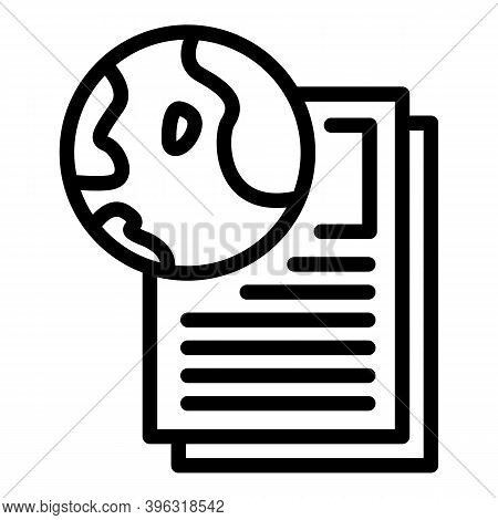 Global Reportage Writing Icon. Outline Global Reportage Writing Vector Icon For Web Design Isolated