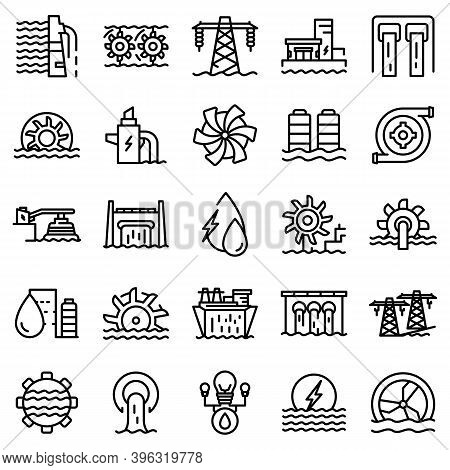 Hydro Power Icons Set. Outline Set Of Hydro Power Vector Icons For Web Design Isolated On White Back