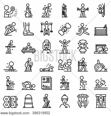 Physical Therapist Icons Set. Outline Set Of Physical Therapist Vector Icons For Web Design Isolated