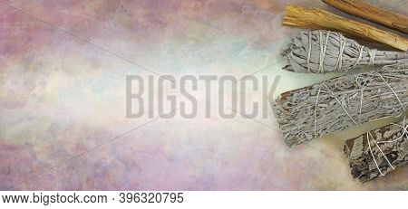 Four Different Smudge Sticks Website Message Banner Background - Rustic Stone Effect Pale Background