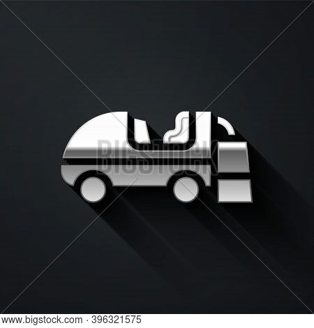 Silver Ice Resurfacer Icon Isolated On Black Background. Ice Resurfacing Machine On Rink. Cleaner Fo