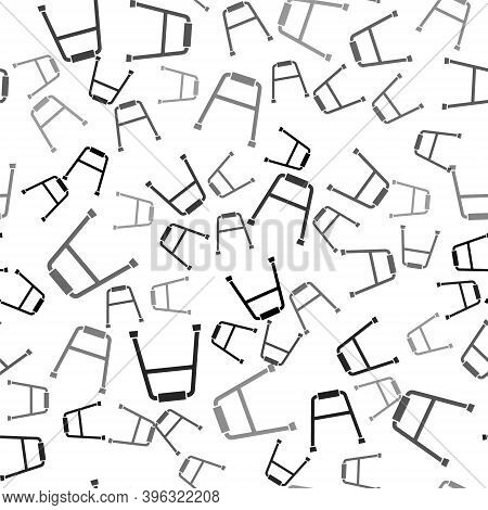 Black Walker For Disabled Person Icon Isolated Seamless Pattern On White Background. Vector