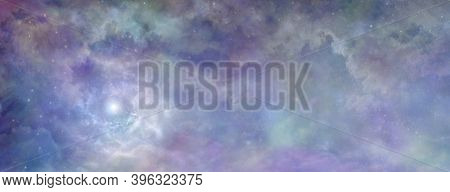 Heavenly Clouds Celestial  Background Banner - Beautiful Blue Pink Purple Green Lilac Light Filled H