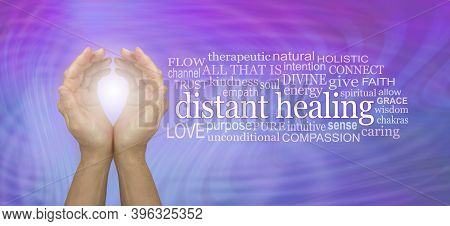 High Frequency Distant Healing Word Tag Cloud - Cupped Hands With White Light Beside A Distant Heali