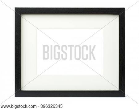 Textured black picture frame with matte, isolated on white background, blank image area masked with clipping path