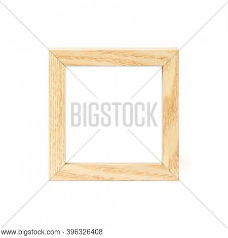 Small square wooden picture frame isolated on white background. Blank image area masked with clipping path