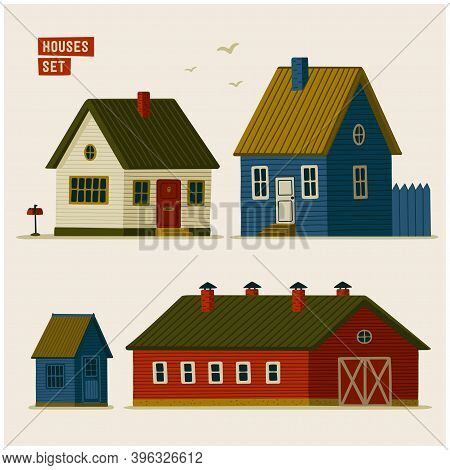 Suburban Houses Set. Various Rural Houses And Barns