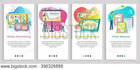 Outdoor Advertising Vector, Social Media Promotion And Online Ads In Internet, Papers And Newspapers