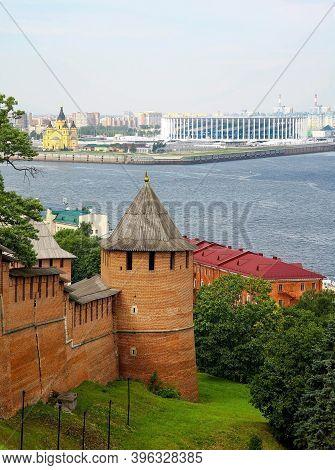 Nizhny Novgorod Kremlin Against The Background Of The Confluence Of Two Rivers Volga And Oka