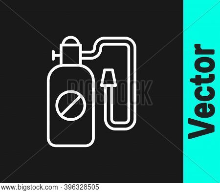 White Line Pressure Sprayer For Extermination Of Insects Icon Isolated On Black Background. Pest Con