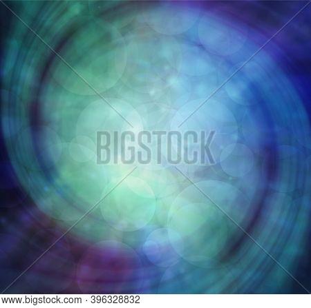 Beautiful Blue Spiral Message Background - Soft Focus Bokeh Blue Green Purple Swirling  Background W
