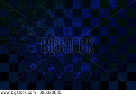 Black Blue Vintage Checkered Background With Blur, Gradient And Texture Grunge. Classic Checkered Ge