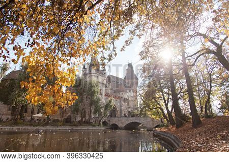 Autumn In Budapest, Hungary. Vajdahunyad Castle In Park. Amazing Cityscape In Europe