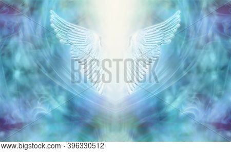 High Resonance Turquoise Blue Angel Wings Spiritual Background - Blue And Purple Ethereal Background