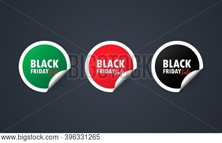 Black Friday. Sticker Set. Discount Red Vector Special Offer Labels Set. Discount Tag Promotion Temp