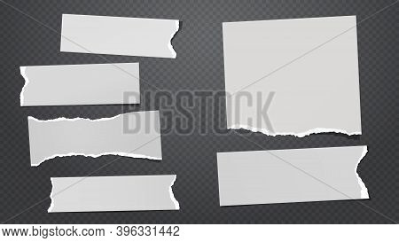 Set Of Torn White Note, Notebook Paper Pieces Stuck On Black Squared Background. Vector Illustration