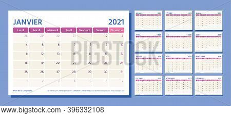 2021 French Planner. Calendar Template. Vector. Week Starts Monday. Table Schedule Grid. Calender La