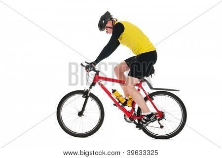 Active mountain biker rides in studio isolated over white background poster