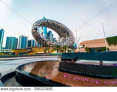 Dubai, United Arab Emirates - November 13, 2020: The Museum Of The Future In Dubai Downtown Built Fo