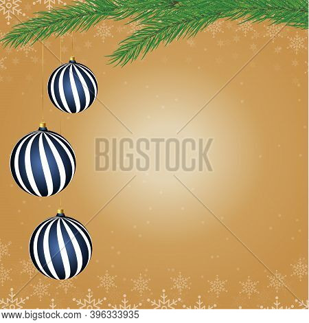 Merry Christmas And Happy New Year Background. Christmas Tree Branches With New Year's Toys On A Gol