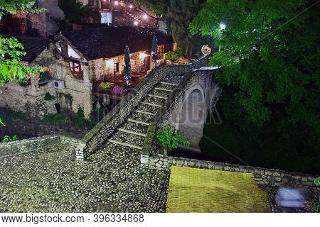 Mostar, Bosnia And Herzegovina - 03 May 2018: The Vintage Streeet In Old City Mostar, Bosnia And Her