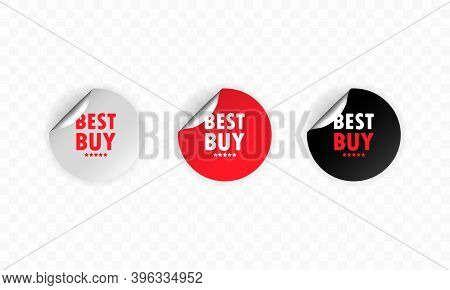 Best Buy. Sticker Set. Discount Vector. Best Buy Labels Set. Black, Red And White Round Circle Tags.