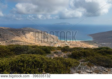 View Of The Agia Theodoti Beach From Point Of View On The Hill, One Of The Quietest In Ios. Greece.