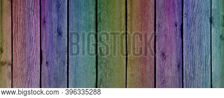 Rainbow Wood Fence Planks Wide Background Banner - Rich Graduated Colours Red Orange Yellow Green Bl