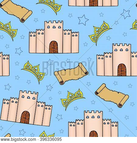 Fairy Tale Seamless Pattern. Castle, Diadem, Stars And Old Scroll On A Blue Background. Hand Drawing
