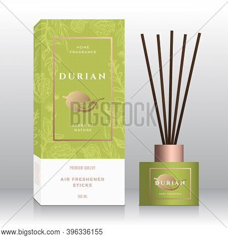 Durian Home Fragrance Sticks Abstract Vector Label Box Template. Hand Drawn Sketch Flowers, Leaves B