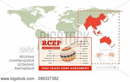 Rcep. Regional Comprehensive Economic Partnership. Vector Infographics With A World Map And Countrie