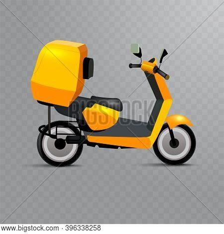 Realistic Scooter, Symbol Of Online Delivery. Bike Or Moped For Delivery Service, E-commerce, Online