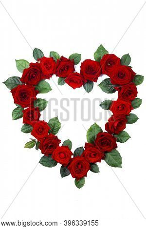 Red roses border frame in heart shape isolated on white background, Valentine's Day