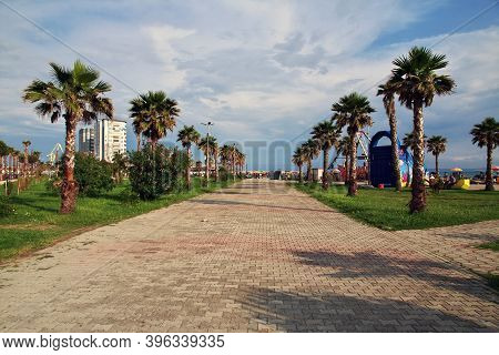 Durres, Albania - 08 May 2018: The Street In The Center Of Durres, Albania